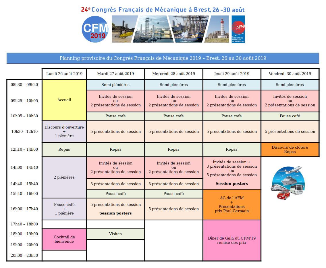 Planning provisoire CFM 2019